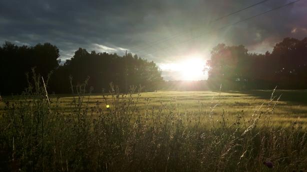 Solnedgång då vi på onsdagen åker torsdagens bana.